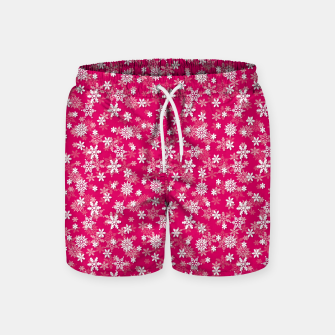 Thumbnail image of Festive Peacock Pink and White Christmas Holiday Snowflakes Swim Shorts, Live Heroes