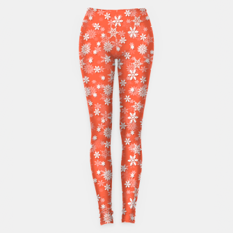 Thumbnail image of Festive Living Coral Orange Pink and White Christmas Holiday Snowflakes Leggings, Live Heroes