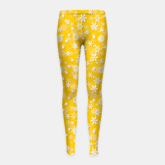 Thumbnail image of Festive Yellow Aspen Gold and White Christmas Holiday Snowflakes Girl's leggings, Live Heroes