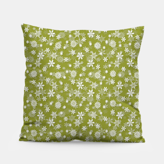 Thumbnail image of Festive Pepper Stem Green and White Christmas Holiday Snowflakes Pillow, Live Heroes