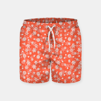 Thumbnail image of Festive Living Coral Orange Pink and White Christmas Holiday Snowflakes Swim Shorts, Live Heroes