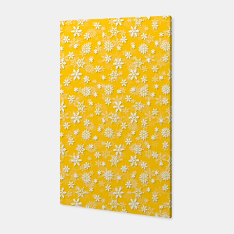 Thumbnail image of Festive Yellow Aspen Gold and White Christmas Holiday Snowflakes Canvas, Live Heroes