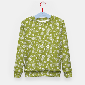 Thumbnail image of Festive Pepper Stem Green and White Christmas Holiday Snowflakes Kid's sweater, Live Heroes