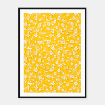 Thumbnail image of Festive Yellow Aspen Gold and White Christmas Holiday Snowflakes Framed poster, Live Heroes