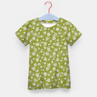Thumbnail image of Festive Pepper Stem Green and White Christmas Holiday Snowflakes Kid's t-shirt, Live Heroes