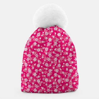 Thumbnail image of Festive Peacock Pink and White Christmas Holiday Snowflakes Beanie, Live Heroes