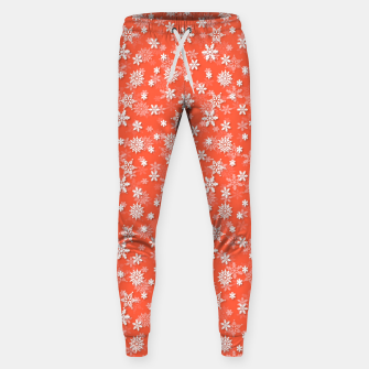 Thumbnail image of Festive Living Coral Orange Pink and White Christmas Holiday Snowflakes Sweatpants, Live Heroes