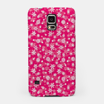 Thumbnail image of Festive Peacock Pink and White Christmas Holiday Snowflakes Samsung Case, Live Heroes