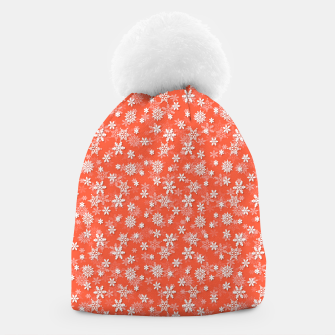 Thumbnail image of Festive Living Coral Orange Pink and White Christmas Holiday Snowflakes Beanie, Live Heroes