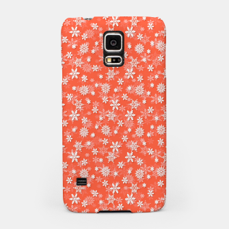 Thumbnail image of Festive Living Coral Orange Pink and White Christmas Holiday Snowflakes Samsung Case, Live Heroes