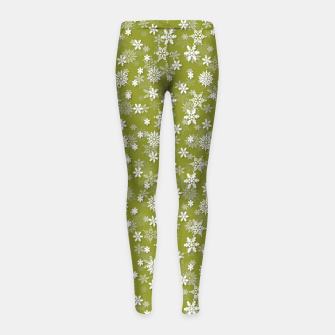Thumbnail image of Festive Pepper Stem Green and White Christmas Holiday Snowflakes Girl's leggings, Live Heroes