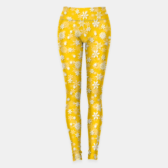 Thumbnail image of Festive Yellow Aspen Gold and White Christmas Holiday Snowflakes Leggings, Live Heroes