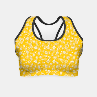 Thumbnail image of Festive Yellow Aspen Gold and White Christmas Holiday Snowflakes Crop Top, Live Heroes