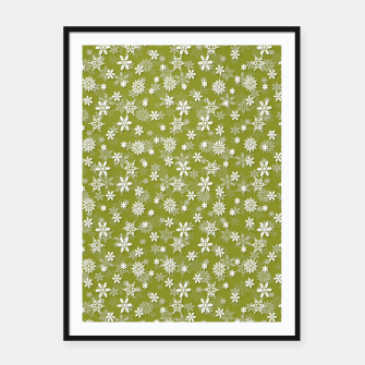 Thumbnail image of Festive Pepper Stem Green and White Christmas Holiday Snowflakes Framed poster, Live Heroes
