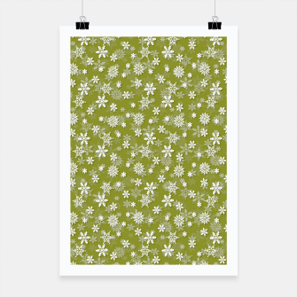 Miniatur Festive Pepper Stem Green and White Christmas Holiday Snowflakes Poster, Live Heroes