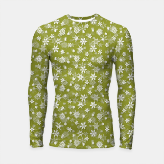Thumbnail image of Festive Pepper Stem Green and White Christmas Holiday Snowflakes Longsleeve rashguard , Live Heroes