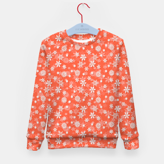 Thumbnail image of Festive Living Coral Orange Pink and White Christmas Holiday Snowflakes Kid's sweater, Live Heroes