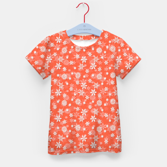 Thumbnail image of Festive Living Coral Orange Pink and White Christmas Holiday Snowflakes Kid's t-shirt, Live Heroes