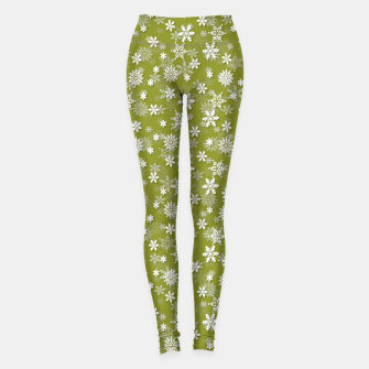 Thumbnail image of Festive Pepper Stem Green and White Christmas Holiday Snowflakes Leggings, Live Heroes
