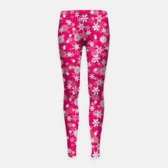 Thumbnail image of Festive Peacock Pink and White Christmas Holiday Snowflakes Girl's leggings, Live Heroes