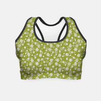 Thumbnail image of Festive Pepper Stem Green and White Christmas Holiday Snowflakes Crop Top, Live Heroes
