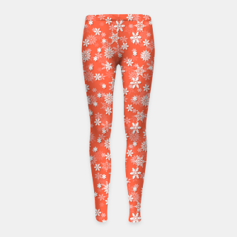 Thumbnail image of Festive Living Coral Orange Pink and White Christmas Holiday Snowflakes Girl's leggings, Live Heroes
