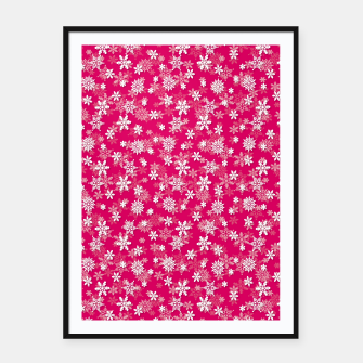 Thumbnail image of Festive Peacock Pink and White Christmas Holiday Snowflakes Framed poster, Live Heroes