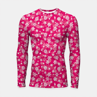Thumbnail image of Festive Peacock Pink and White Christmas Holiday Snowflakes Longsleeve rashguard , Live Heroes