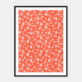 Thumbnail image of Festive Living Coral Orange Pink and White Christmas Holiday Snowflakes Framed poster, Live Heroes