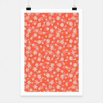 Miniatur Festive Living Coral Orange Pink and White Christmas Holiday Snowflakes Poster, Live Heroes