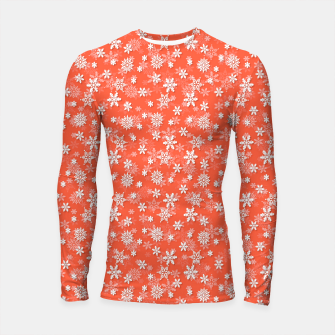 Thumbnail image of Festive Living Coral Orange Pink and White Christmas Holiday Snowflakes Longsleeve rashguard , Live Heroes