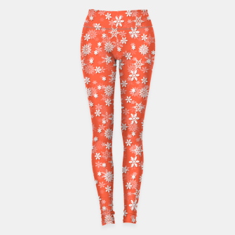 Miniaturka Festive Living Coral Orange Pink and White Christmas Holiday Snowflakes Leggings, Live Heroes