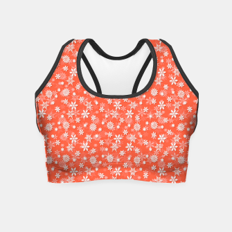Miniaturka Festive Living Coral Orange Pink and White Christmas Holiday Snowflakes Crop Top, Live Heroes