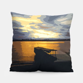 Thumbnail image of Golden Evening At The Beach Pillow, Live Heroes