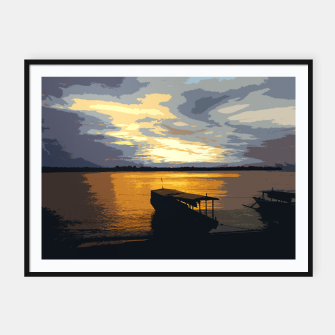 Thumbnail image of Golden Evening At The Beach Framed poster, Live Heroes