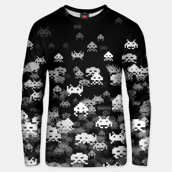 Thumbnail image of Invaded BLACK retro gaming pattern for gamer geeks Unisex sweater, Live Heroes