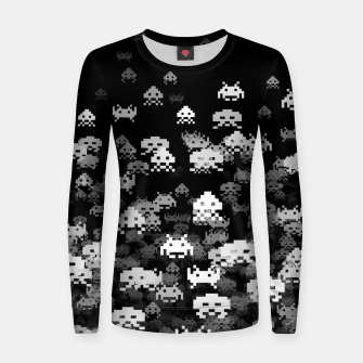 Thumbnail image of Invaded BLACK retro gaming pattern for gamer geeks Women sweater, Live Heroes