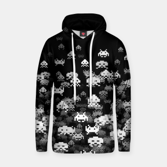 Thumbnail image of Invaded BLACK retro gaming pattern for gamer geeks Hoodie, Live Heroes