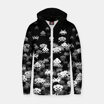Thumbnail image of Invaded BLACK retro gaming pattern for gamer geeks Zip up hoodie, Live Heroes