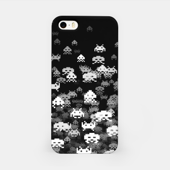 Thumbnail image of Invaded BLACK retro gaming pattern for gamer geeks iPhone Case, Live Heroes