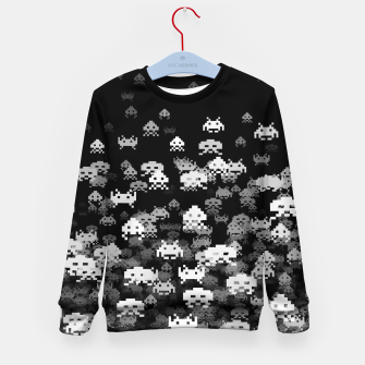 Thumbnail image of Invaded BLACK retro gaming pattern for gamer geeks Kid's sweater, Live Heroes