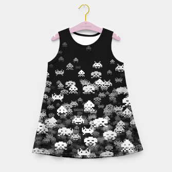 Thumbnail image of Invaded BLACK retro gaming pattern for gamer geeks Girl's summer dress, Live Heroes