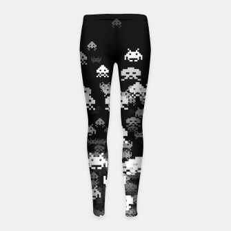 Thumbnail image of Invaded BLACK retro gaming pattern for gamer geeks Girl's leggings, Live Heroes