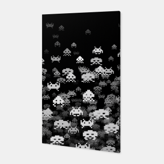 Thumbnail image of Invaded BLACK retro gaming pattern for gamer geeks Canvas, Live Heroes