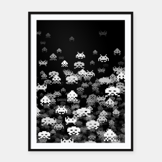 Thumbnail image of Invaded BLACK retro gaming pattern for gamer geeks Framed poster, Live Heroes