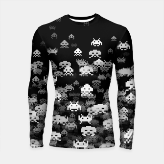 Thumbnail image of Invaded BLACK retro gaming pattern for gamer geeks Longsleeve rashguard , Live Heroes