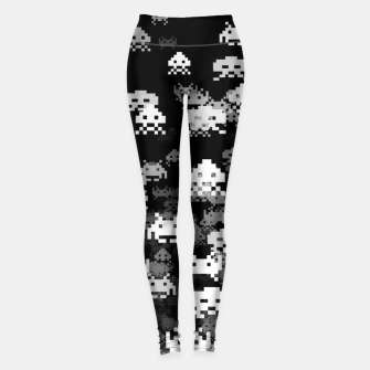 Thumbnail image of Invaded BLACK retro gaming pattern for gamer geeks Leggings, Live Heroes