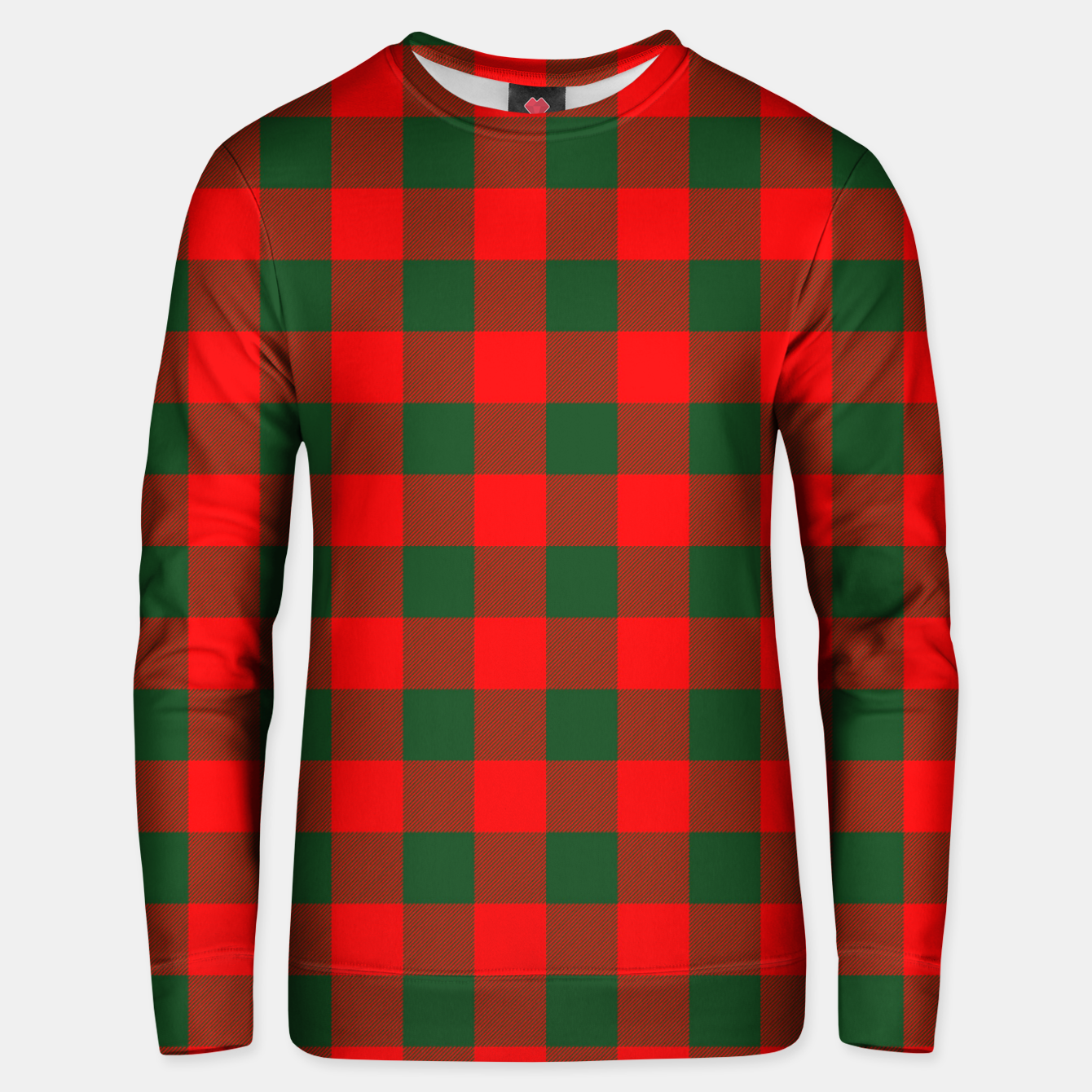 Imagen de Jumbo Holly Red and Balsam Green Christmas Country Cabin Buffalo Check Unisex sweater - Live Heroes