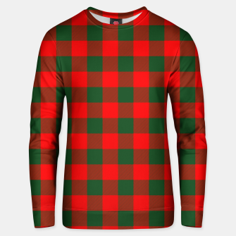 Jumbo Holly Red and Balsam Green Christmas Country Cabin Buffalo Check Unisex sweater imagen en miniatura