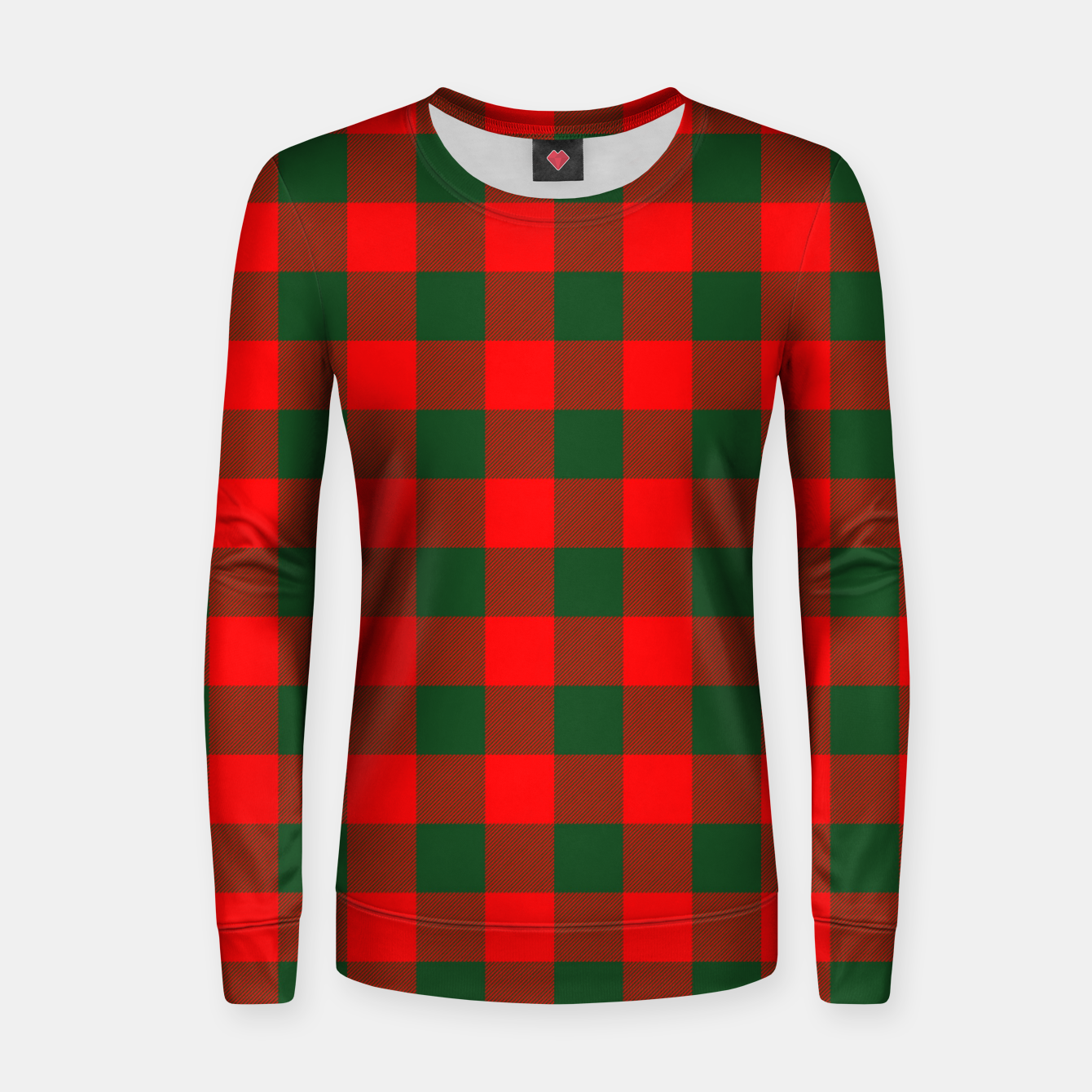 Imagen de Jumbo Holly Red and Balsam Green Christmas Country Cabin Buffalo Check Women sweater - Live Heroes